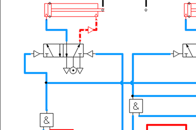 pneumatic circuit simulated using Automation Studio software